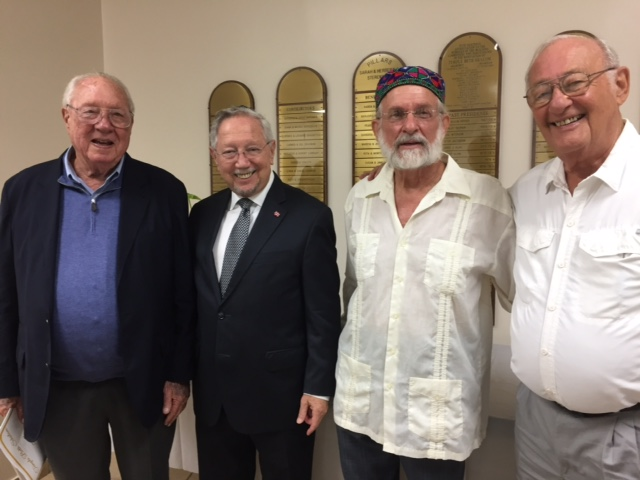 Peter Jacobson, TBS president, 1971-1973, spoke at the erev shabbat service, September 14th, shown here with Rabbi Patz and past presidents Dr Marc Schnitzer and Ron Rosenberg.