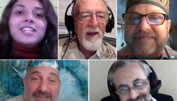 Screenshots taken from archived recordings of virtual services. Clockwise from left: Rebecca Orantes, Rabbi Roberto Graetz, Martin Hirsch, Edy Huberman and Pablo Schejtman.